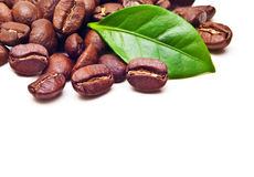 Black coffee beans grain with leaf Royalty Free Stock Photo