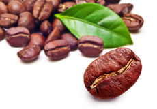 Black coffee beans grain with leaf Stock Photo