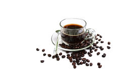 Black Coffee and beans on a white background. Stock Image