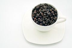 Black coffee beans in white cup. Royalty Free Stock Image