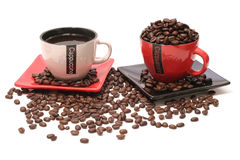 Black coffee and beens Royalty Free Stock Photography