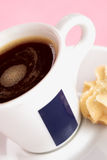 Black coffee with biscuit stock photos