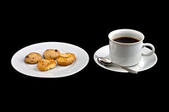 Black coffee and biscuits Stock Image