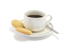 Black Coffee and Biscuits. Two shortbread biscuits and a cup of black coffee royalty free stock photos