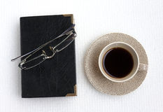 Black Coffee and black book Stock Photo