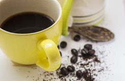 Black coffee blend and bean Royalty Free Stock Images