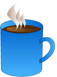 Black coffee in blue cup - vector illustration. Vector illustration of blue cup with black coffee Stock Image