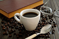 Black coffee and book Stock Photo