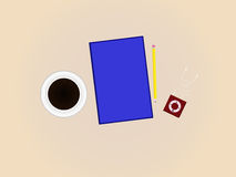 Black Coffee, Book, and Music Player (Top View) Stock Images