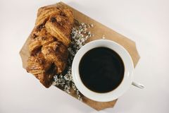 Black, Coffee, Bread, Breakfast Stock Photography