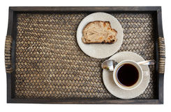 Black coffee and bred on the tray Stock Images