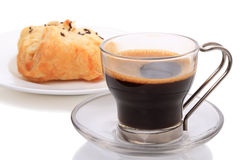 Black coffee and Bun Royalty Free Stock Image