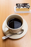 Black coffee with cake Royalty Free Stock Photo