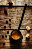 Black coffee in the cezve Royalty Free Stock Photos