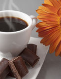 Black coffee and chocolate Stock Images