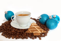 Black coffee with christmas decorations Royalty Free Stock Photo