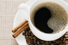 Black Coffee and Cinnamon Royalty Free Stock Photos