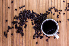 Black coffee and coffee bean Stock Image