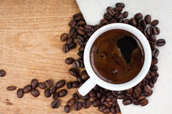 Black coffee and coffee beans Stock Photo