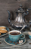 Black coffee and coffee pot Royalty Free Stock Images