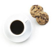 Black Coffee With Cookie Stock Image