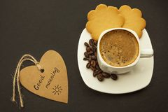 Black coffee and cookie on wooden background breakfast, top view stock images