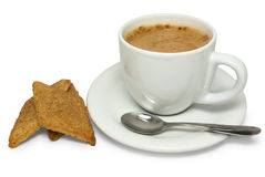 Black coffee and cookies Stock Photography