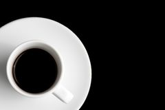 Black coffee in a corner with space for text Stock Photo
