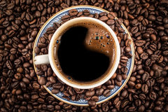 Black coffee in a cup from above Stock Photos