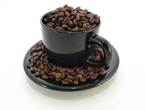 Black Coffee Cup with Beans Royalty Free Stock Photo