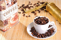 Black coffee, a cup of beans Royalty Free Stock Photo