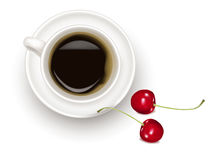 Black coffee cup with cherries. Stock Image