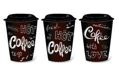 Black coffee cup covered with hand-drawings on the theme. Of coffee, vector illustration on a white background Royalty Free Stock Image