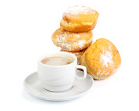 black coffee cup donuts sweet 库存图片