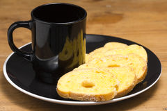 Black coffee cup Garlic bread Royalty Free Stock Images