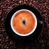 Black coffee cup hot espresso closeup top view square Stock Photos