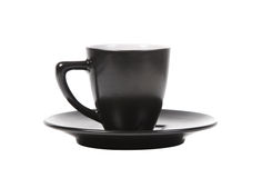 Black coffee cup and saucer isolated on white Royalty Free Stock Image
