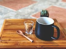 Black coffee cup with wooden spoon , green cactus , brown sugars stock photo