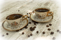 Black coffee cups 3 Stock Photos