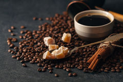 Black coffee. On dark table royalty free stock photos