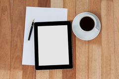 Black coffee with digital tablet and paper Stock Photo