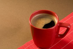 Black coffee drink  in a red cup Stock Images