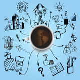 Black Coffee earth planet business , industry, education, technology a Stock Photography