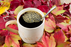 Black Coffee in the Fall Time Royalty Free Stock Photos