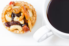 Black coffee and Fruit Tart. On wooden table Stock Photo