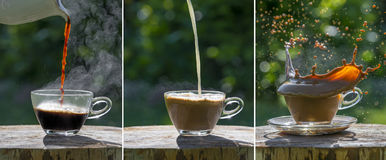 Black coffee on the garden table Stock Images