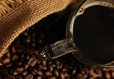 Black coffee in the glass Royalty Free Stock Photos