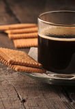 Black coffee in glass cup Royalty Free Stock Image