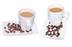 Black Coffee in Glass cup and beans on a white background. Royalty Free Stock Photos