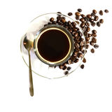 Black Coffee in Glass cup and beans on a white background. Royalty Free Stock Photo